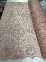 Beaded Fabric - By The Yard Peach Lace Heavy Beads For Bridal Veil Flower Mesh Dress Top Wedding Decoration