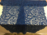 Beaded Fabric - By The Yard Royal Blue Lace Heavy Beads For Bridal Veil Flower Mesh Dress Top Wedding Decoration