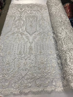 Beaded Fabric - By The Yard White Lace Heavy Beads For Bridal Veil Flower Mesh Dress Top Wedding Decoration