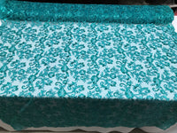 Teal Lace Fabric - By THe Yard Bridal Veil Corded Flowers Embroidery With Sequins For Wedding Dress