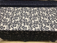 Navy Lace Fabric - By THe Yard Bridal Veil Corded Flowers Embroidery With Sequins For Wedding Dress
