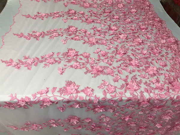 Bridal Lace Fabric - Hand Embroidered Flower 3D Pearls Pink For Veil Mesh Dress Top Wedding Decoration By The Yard