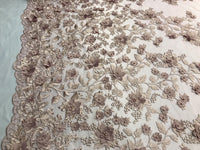 Bridal Lace Fabric - Hand Embroidered Flower 3D Pearls Dusty Rose For Veil Mesh Dress Top Wedding Decoration By The Yard