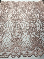 Beaded Fabric - Dusty Rose Embroidered Lace Beads By The Yard For Bridal Veil Mesh Dress Top Wedding Decoration