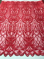 Beaded Fabric - Red Embroidered Lace Beads By The Yard For Bridal Veil Mesh Dress Top Wedding Decoration