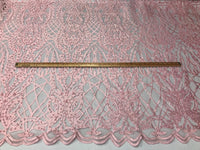 Beaded Fabric - Pink Embroidered Lace Beads By The Yard For Bridal Veil Mesh Dress Top Wedding Decoration