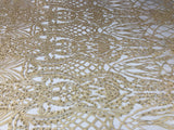 Beaded Fabric - Dk Gold Embroidered Lace Beads By The Yard For Bridal Veil Mesh Dress Top Wedding Decoration
