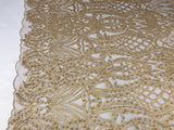 Beaded Fabric - Dk Gold Embroidered Lace Beads By The Yard For Bridal Veil Mesh Dress Top Wedding Decoration - Supreme Acoustics