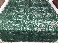 Beaded Fabric - Hunter Green Embroidered Lace Beads By The Yard For Bridal Veil Mesh Dress Top Wedding Decoration