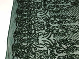 Hunter Green 4 Way Stretch Fabric - Sequins Fabric Embroidered Power Mesh Dress Top Fashion Prom Wedding Lace Decoration By The Yard