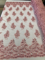 Pink Lace Fabric - Corded Flowers Embroidery With Sequins For Wedding Dress Bridal Veil Sold By The Yard