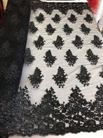 Black Lace Fabric - Corded Flowers Embroidery With Sequins For Wedding Dress Bridal Veil Sold By The Yard