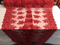 Beaded Fabric - Red Bridal Wedding Decoration By The Yard Embroidered Beads Mesh For Dress Prom Fashion