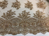 Beaded Fabric - Skin Gold Bridal Wedding Decoration By The Yard Embroidered Beads Mesh For Dress Prom Fashion