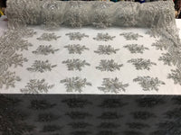 Beaded Fabric - Silver Bridal Wedding Decoration By The Yard Embroidered Beads Mesh For Dress Prom Fashion