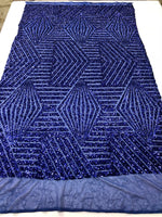"Geometric 2 Way Stretch Sequins Fabric - Royal Blue Geometric Diamond Design 2 Way Stretch Mesh 52-58"" Wide By The Yard"