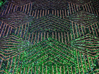 "Geometric 2 Way Stretch Sequins Fabric - Iridescent Green Geometric Diamond Design 2 Way Stretch Mesh 52-58"" Wide By The Yard - Supreme Acoustics"