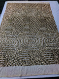 "Geometric 2 Way Stretch Sequins Fabric - Gold Geometric Diamond Design 2 Way Stretch Mesh 52-58"" Wide By The Yard"