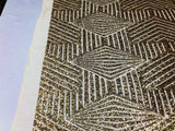 "Geometric 2 Way Stretch Sequins Fabric - Gold Geometric Diamond Design 2 Way Stretch Mesh 52-58"" Wide By The Yard - Supreme Acoustics"