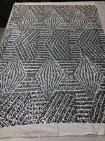 "Geometric 2 Way Stretch Sequins Fabric - Silver Geometric Diamond Design 2 Way Stretch Mesh 52-58"" Wide By The Yard"