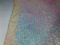"Geometric 2 Way Stretch Sequins Fabric - Iridescent Aqua Geometric Diamond Design 2 Way Stretch Mesh 52-58"" Wide By The Yard"