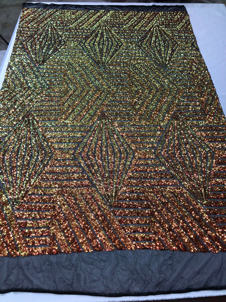 "Geometric 2 Way Stretch Sequins Fabric - Iridescent Orange Geometric Diamond Design 2 Way Stretch Mesh 52-58"" Wide By The Yard"