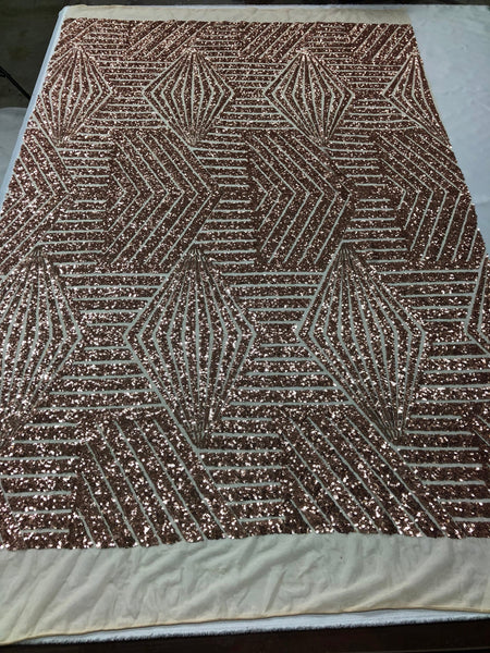 "Geometric 2 Way Stretch Sequins Fabric - Champagne Geometric Diamond Design 2 Way Stretch Mesh 52-58"" Wide By The Yard"