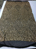 "Geometric 4 Way Stretch Sequins Fabric - Gold Geometric Diamond Design 4 Way Stretch Black Mesh 52"" Wide By The Yard"