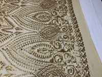 Sequins Fabric - Gold Mate 4 Way Stretch Embroider Power Mesh Dress Top Fashion Prom Wedding Decoration By The Yard