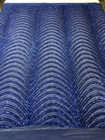 Royal Blue Sequins Fabric 4 Way Stretch By The Yard Embroidery Power Mesh Dress Top Fashion Prom Wedding Decoration