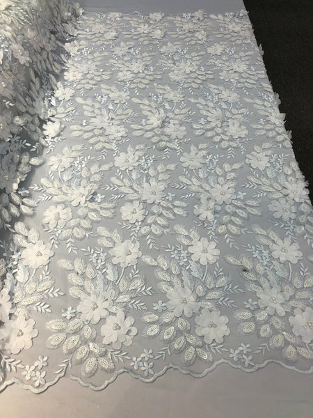 Shop Lace Fabric Bridal Wedding Lace Fabric Eyelash Sequins White Hand Embroidered Flower 3D Pearls With Sequins For Dress Top Decoration By The Yard