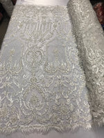 Beaded Fabric - By The Yard Ivory Lace Heavy Beads For Bridal Veil Flower Mesh Dress Top Wedding Decoration