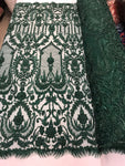 Beaded Fabric - By The Yard Hunter Green Lace Heavy Beads For Bridal Veil Flower Mesh Dress Top Wedding Decoration - Supreme Acoustics