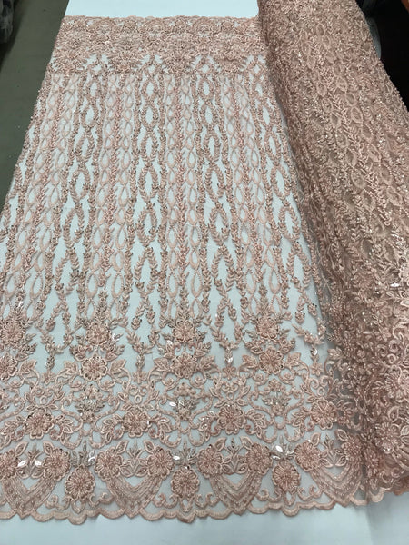Bridal Veil - Flower Beaded Fabric - By The Yard Blush Lace Beads For Mesh Dress Top Wedding Decoration