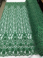 Bridal Veil - Flower Beaded Fabric - By The Yard Hunter Green Lace Beads For Mesh Dress Top Wedding Decoration