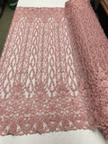 Bridal Veil - Flower Beaded Fabric - By The Yard Pink Lace Beads For Mesh Dress Top Wedding Decoration