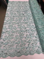 Mint Lace Fabric - By THe Yard Bridal Veil Corded Flowers Embroidery With Sequins For Wedding Dress