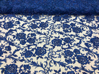 Shop Lace Fabric Beaded Floral ROYAL BLUE - Luxury Wedding Bridal Veil Hand Embroidery Lace Sequins/Beads For Mesh Dress Top Wedding Decoration By The Yard