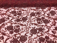 Shop Lace Fabric Beaded Floral BURGUNDY - Luxury Wedding Bridal Veil Hand Embroidery Lace Sequins/Beads For Mesh Dress Top Wedding Decoration By The Yard