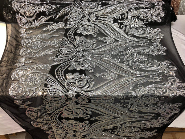 Silver 4 Way Stretch Fabric - Sequins Fabric Embroidered Power Mesh Black Dress Top Fashion Prom Wedding Lace Decoration By The Yard