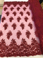 Burgundy Lace Fabric - Corded Flowers Embroidery With Sequins For Wedding Dress Bridal Veil Sold By The Yard