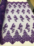 Beaded Fabric - Purple - Lace By The Yard Embridered Lace Wiht Beads And Sequins French Bridal Veil Wedding Decoration Home