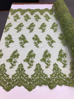 Beaded Fabric - Olive Green - Lace By The Yard Embridered Lace Wiht Beads And Sequins French Bridal Veil Wedding Decoration Home