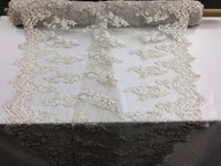 Beaded Fabric - Of White - Lace By The Yard Embridered Lace Wiht Beads And Sequins French Bridal Veil Wedding Decoration Home
