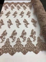 Beaded Fabric - Blush - Lace By The Yard Embridered Lace Wiht Beads And Sequins French Bridal Veil Wedding Decoration Home - Supreme Acoustics