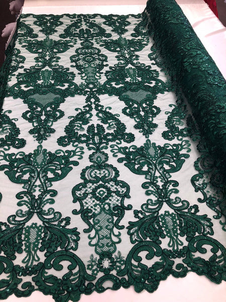 Lace Fabric - Embroidered Sequin Mesh Hunter Green Bridal Wedding Dress By The yard