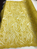 Shop Lace Fabric Beaded Fabric Yellow Lace Heavy Beads For Bridal Veil Mesh Dress Top Wedding Decoration By The Yard