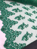 Shop Beaded Mesh Lace Fabric Green Lace By The Yard Embroidered Lace With Beads And Sequins French Bridal Veil