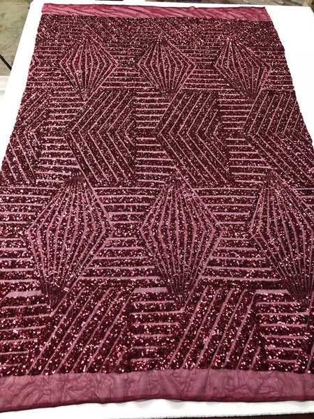 "Geometric 2 Way Stretch Sequins Fabric - Burgundy Geometric Diamond Design 2 Way Stretch Mesh 52-58"" Wide By The Yard"