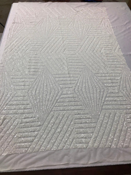 "Geometric 2 Way Stretch Sequins Fabric - White Geometric Diamond Design 2 Way Stretch Mesh 52-58"" Wide By The Yard"